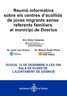 L'Ajuntament organitza una xerrada informativa oberta a la ciutadania sobre l'acollida de joves migrants sense referents familiars