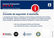 Policia Local i Mossos d'Esquadra traslladaran a la població consells de seguretat per a prevenir robatoris en domicilis
