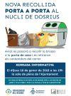 Cartell de la xerrada informativa sobre el servei de recollida porta a porta al nucli de Dosrius