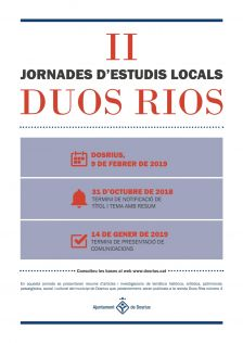 Cartell de la 2a edició de la Jornada d'Estudis Locals 'Duos Rios'