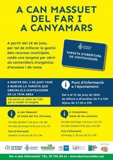 Cartell informatiu sobre les noves àrees de contenidors a Can Massuet del Far i Canyamars